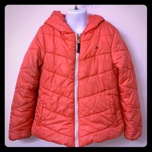Tommy Hilfiger coral puffer hooded jacket - size 7